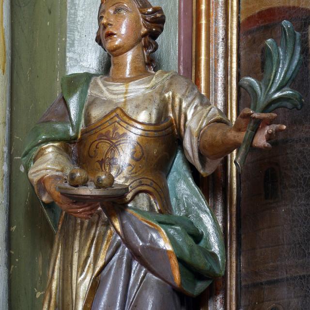 """Saint Lucia, statue on the altar of St. Barbara in the parish church of St. Anne in Sveta Jana, Croatia"" stock image"