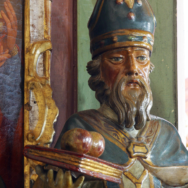 """""""St. Nicholas, a statue on the altar of the Adoration of the Magi in the Parish Church of St. Anne in Sveta Jana, Croatia"""" stock image"""