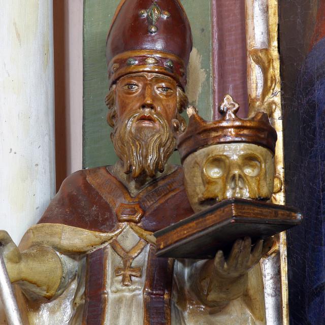 """Saint Francis Borgia, a statue on the altar of the Adoration of the Magi in the Parish Church of St. Anne in Sveta Jana, Croatia"" stock image"