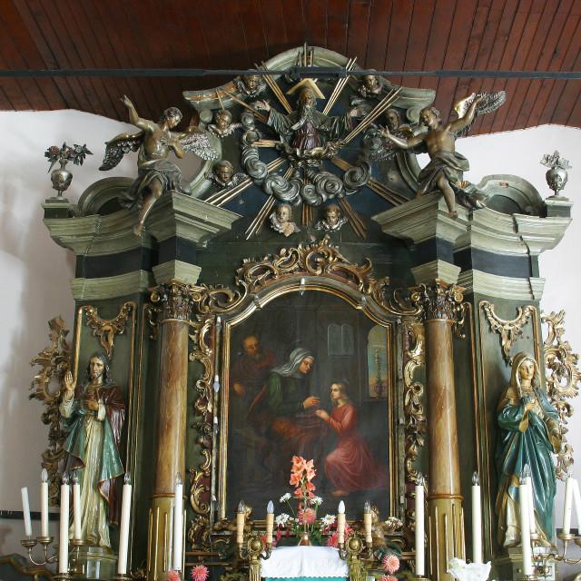 """""""High altar in the parish church of St. Anne in Sveta Jana, Croatia"""" stock image"""