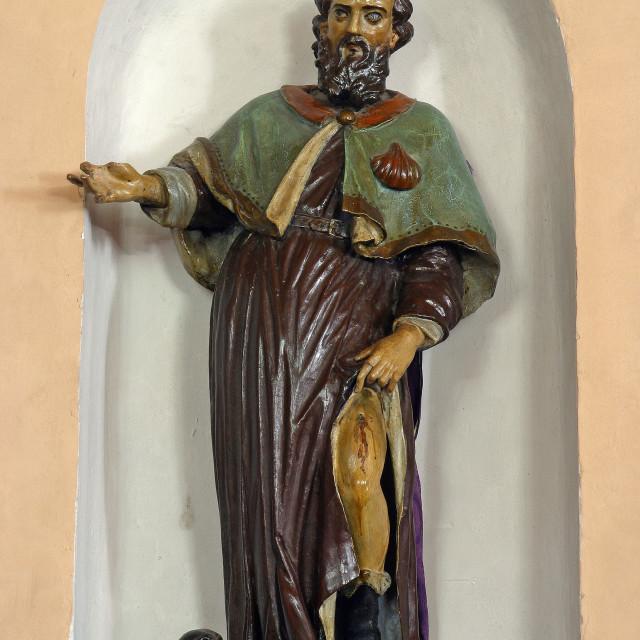 """""""Saint Roch, statue in the parish church of St. Anne in Sveta Jana, Croatia"""" stock image"""