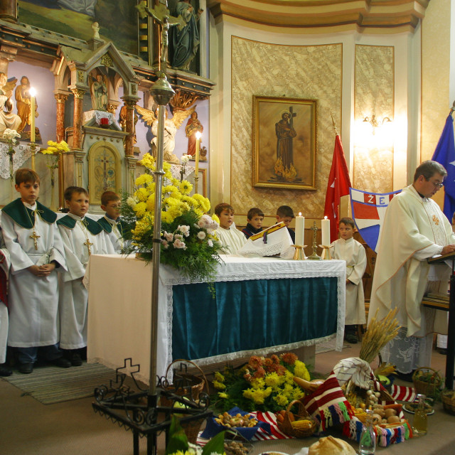 """""""Mass on Thanksgiving day in Sopje, Croatia"""" stock image"""