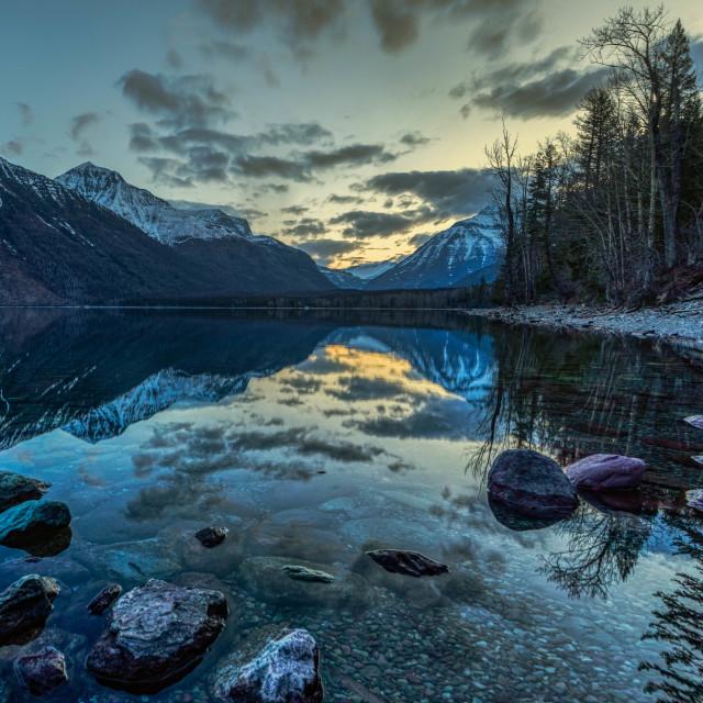 """""""vacation-lake mcdonald-glacier-national park-sunrise"""" stock image"""