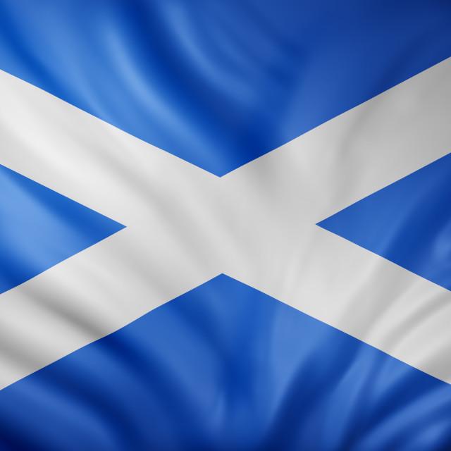"""Scotland national flag waving"" stock image"