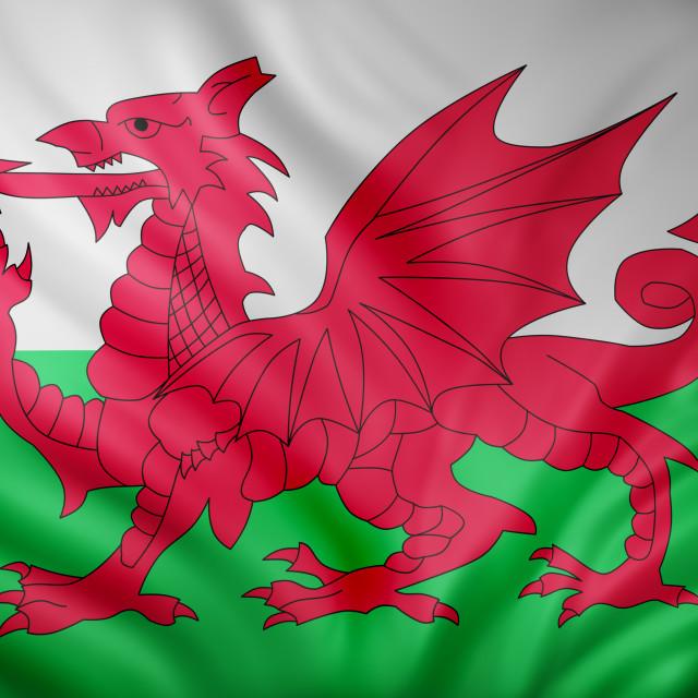 """Wales flag waving"" stock image"