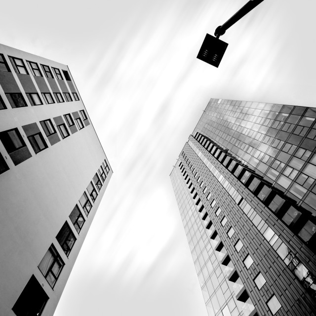 """""""Two buildings and a lamppost"""" stock image"""