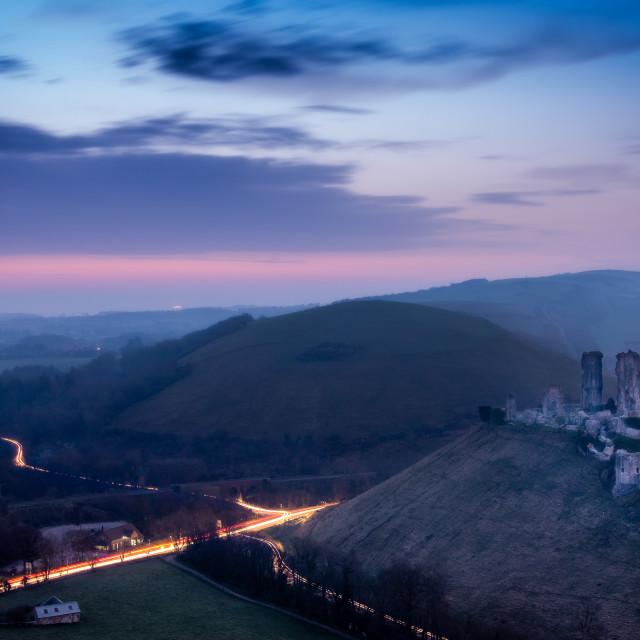 """Corfe Castle at dawn"" stock image"