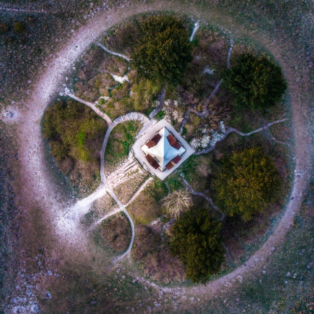 """""""Vertical view of Farley Mount monument"""" stock image"""