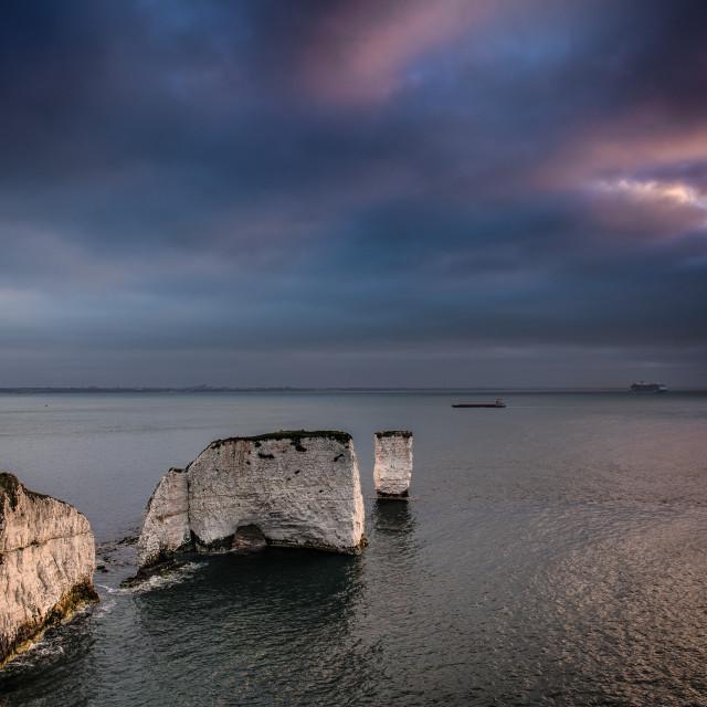 """Old Harry Rocks at sunrise"" stock image"