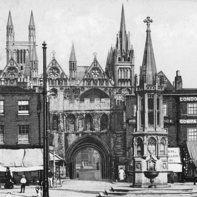 """Peterborough Market Place (c.1910)"" stock image"