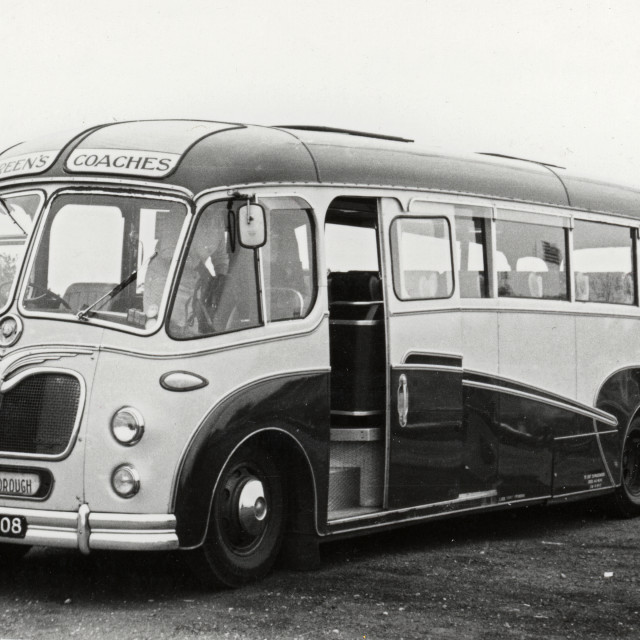 """""""Green's of Thorney Bus"""" stock image"""