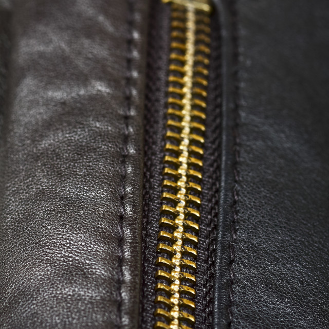 """""""Close up of a metal zip on a leather garment"""" stock image"""