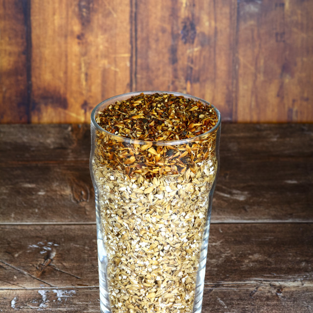 """""""Pint glass filled with barley malt the raw ingredients used to make craft ales"""" stock image"""