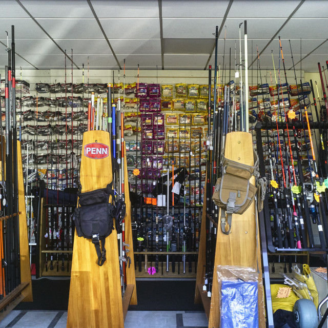 """""""Looking into the window of a fishing shop"""" stock image"""