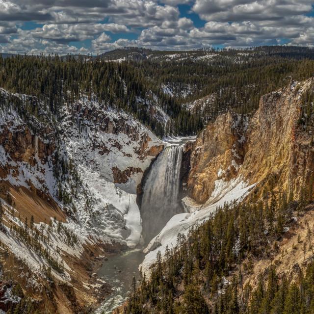 """yellowstone falls-vacation-national park-waterfall"" stock image"