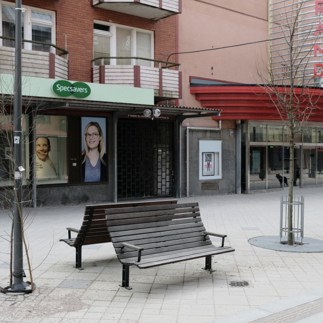 """""""Benches outside the cinema"""" stock image"""