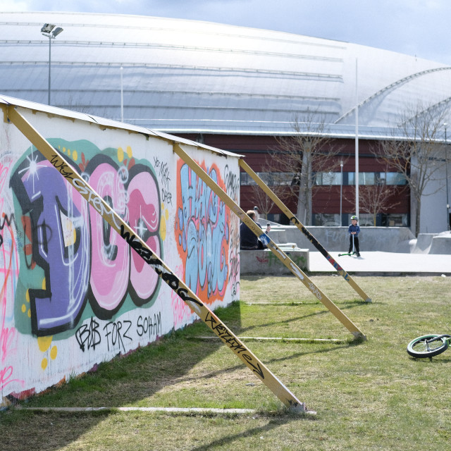 """""""Grafitti wall by the skate park"""" stock image"""