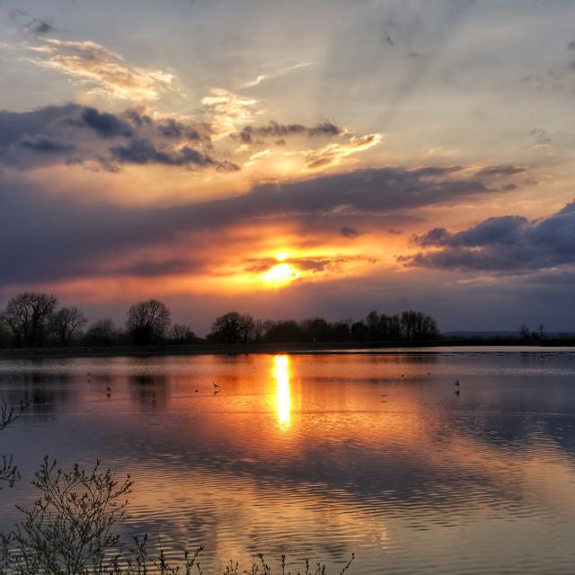 """Sunset at Tring Reservoir"" stock image"