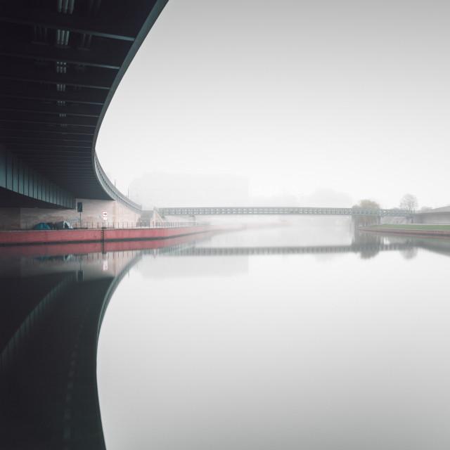 """Berlin bridges in the fog"" stock image"