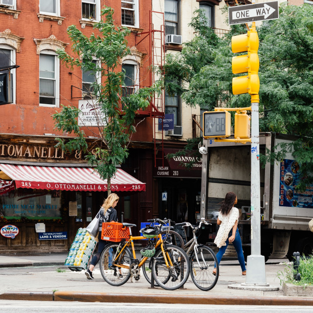 """People crossing street in Greenwich Village in New York City"" stock image"