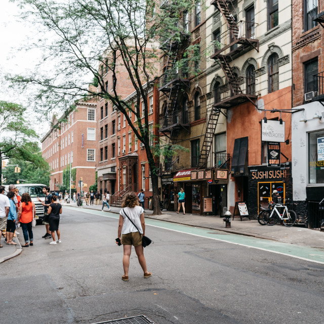 """Scenic view of MacDougal Street in New York"" stock image"