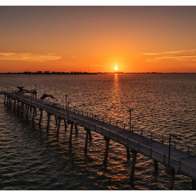 """""""Sun over the Pier"""" stock image"""