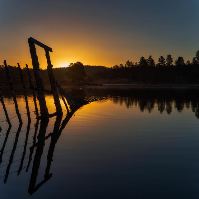 """""""travel-landscape-sunrise-arizona-hawley lake"""" stock image"""