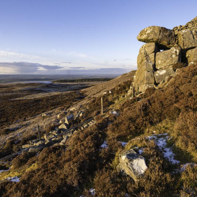 """The Fryingpan Stone, Elsey Crag"" stock image"