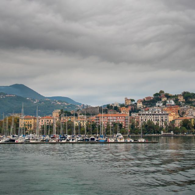 """Panorama of the city of La Spezia and port Cinque Terre, Italy"" stock image"