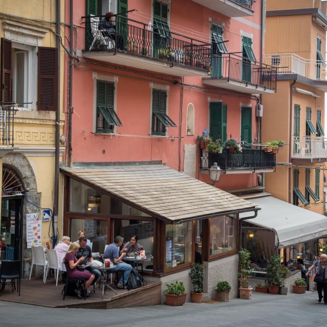 """""""Colourful houses at the village of Manarola Riomaggiore, Cinque Terre, Liguria, Italy"""" stock image"""