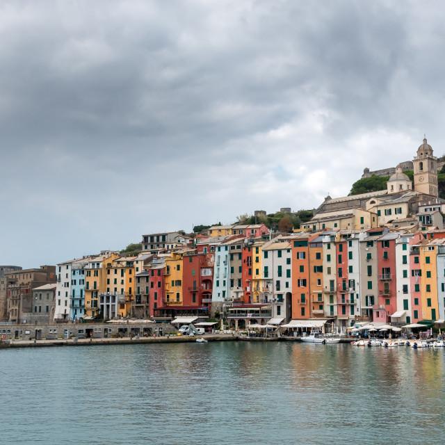 """Fisherman town of Portovenere, Cinque Terre Liguria, Italy"" stock image"