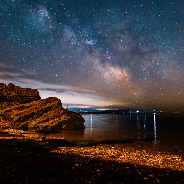 """""""Milky Way from Cawsand Bay, Cornwall UK."""" stock image"""