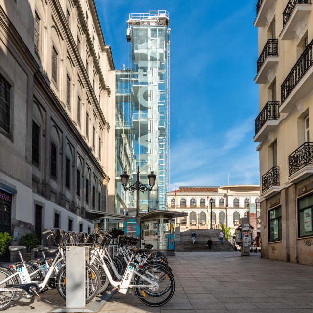 """""""Rental bicycles at Reina Sofia Museum in Central Madrid"""" stock image"""