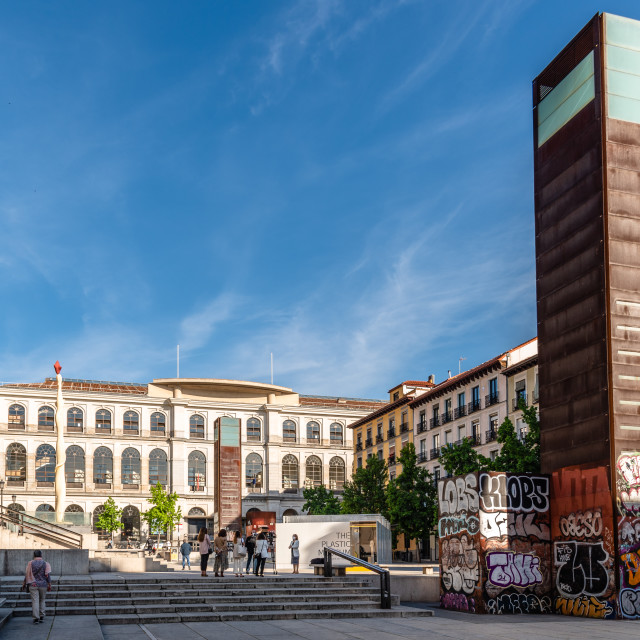 """""""The Plastic Museum and Reina Sofia Museum in Central Madrid"""" stock image"""