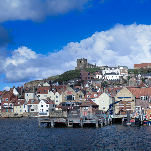 """""""Blue skies over whitby"""" stock image"""