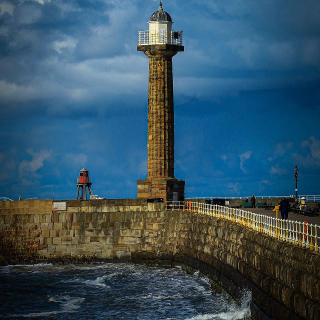 """Whitby lighthouse"" stock image"