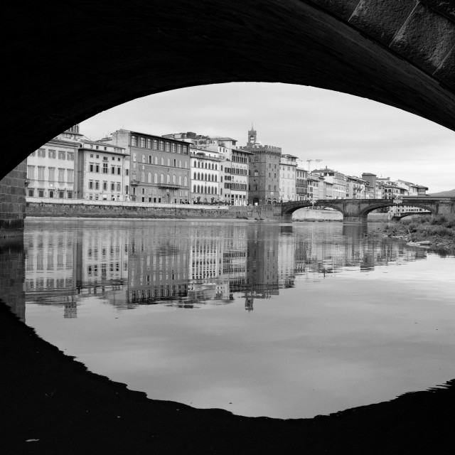 """""""A view of Florence from the river bank."""" stock image"""