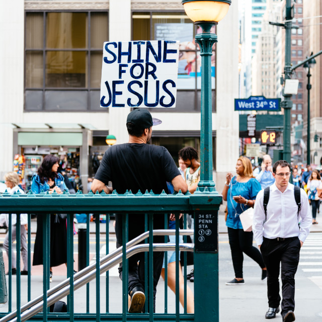 """""""Banner with the text Shine for Jesus in New York"""" stock image"""