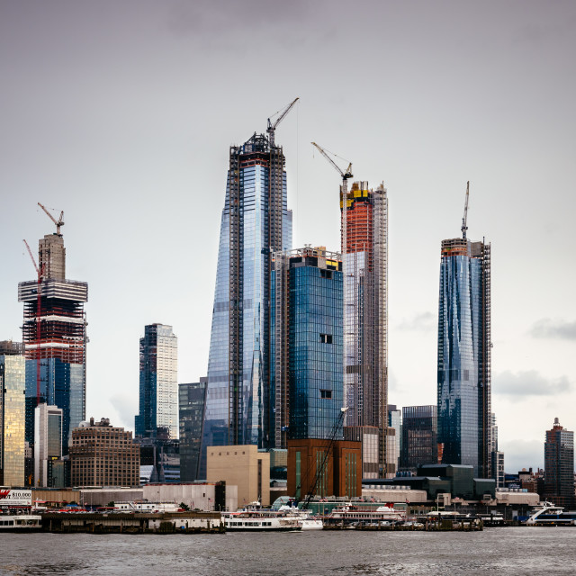 """""""Skyscrapers under construction in Hudson Yards area in New York"""" stock image"""