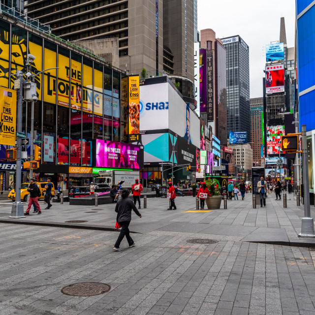 """""""Scenic view of Times Square with a crowd of people"""" stock image"""