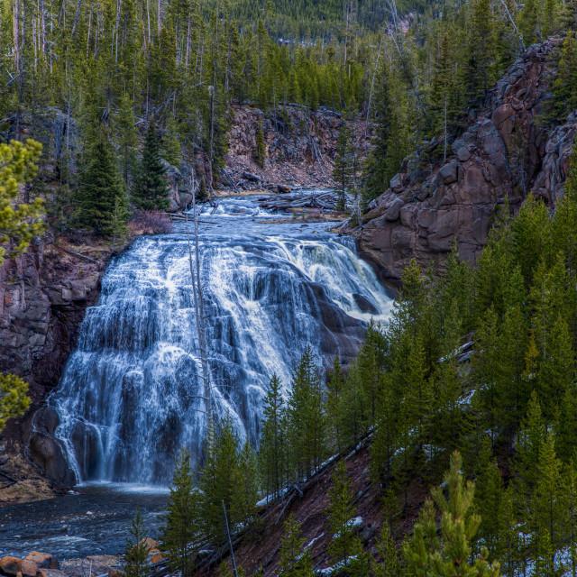 """gibbon falls-travel-yellowstone-national park-waterfall"" stock image"