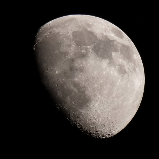 """Waxing Gibbous Moon 22 April 2021"" stock image"