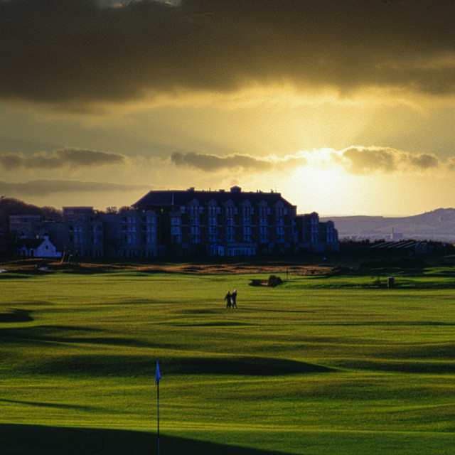 """""""St. Andrew Golf Course Sunset"""" stock image"""