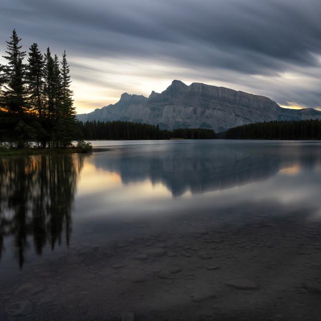 """""""Two Jack Lake Sunset"""" stock image"""