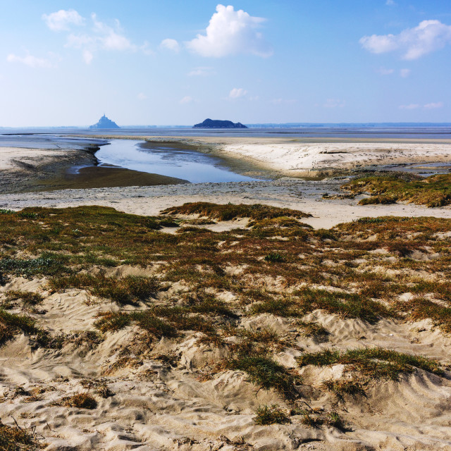 """""""View across the marsh to Mont St Michel in the distance"""" stock image"""