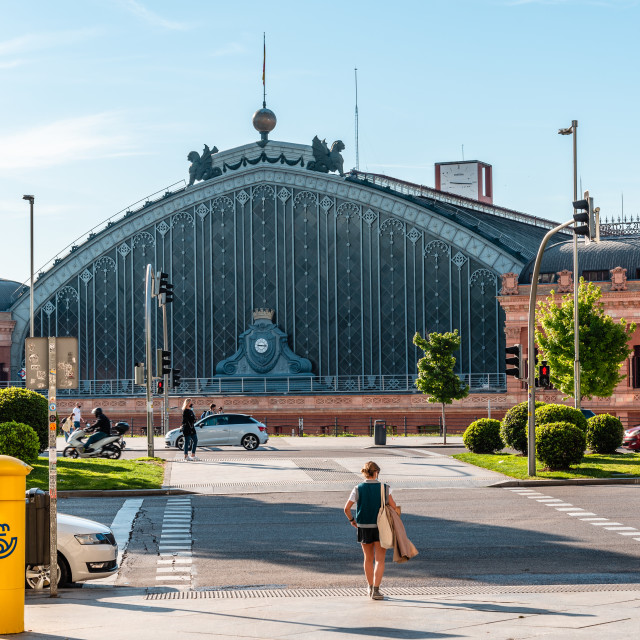 """""""Exterior view of old Atocha Railway Station in Madrid"""" stock image"""