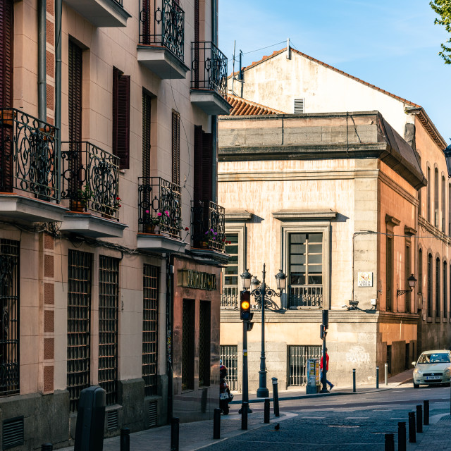 """""""Street in the quarter of Las Letras in Central Madrid"""" stock image"""