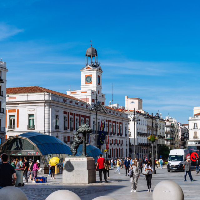 """""""Scenic View of Puerta del Sol Square with People during Coronavirus Covid-19 Pandemic"""" stock image"""