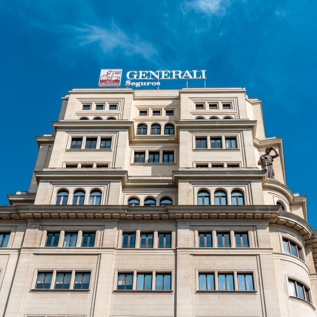 """""""Office builidng with Generali Insurance company sign in Madrid"""" stock image"""