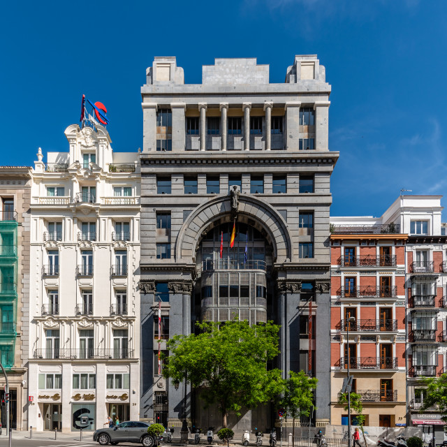 """""""The Mercantile and Industrial bank building in Madrid"""" stock image"""